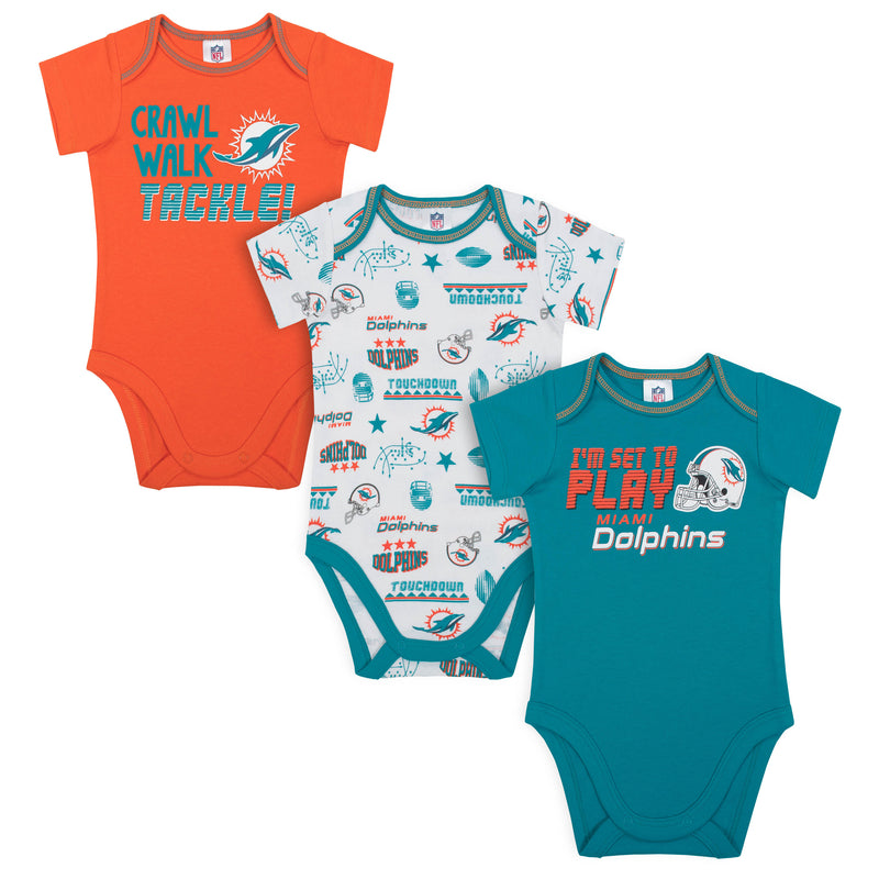 Dolphins All Set To Play 3 Pack Short Sleeved Onesies
