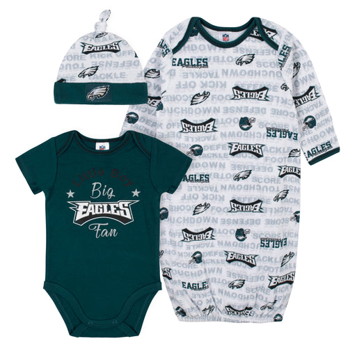 Eagles Baby Boy Bodysuit, Gown & Cap Set