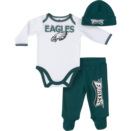 Eagles Baby Boy Onesie, Footed Pant & Cap Set