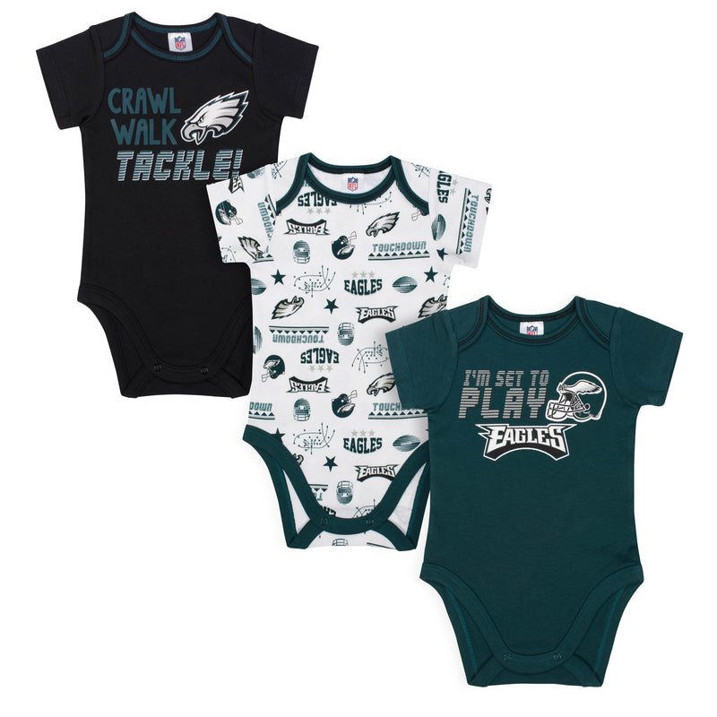 Eagles All Set To Play 3 Pack Short Sleeved Onesies