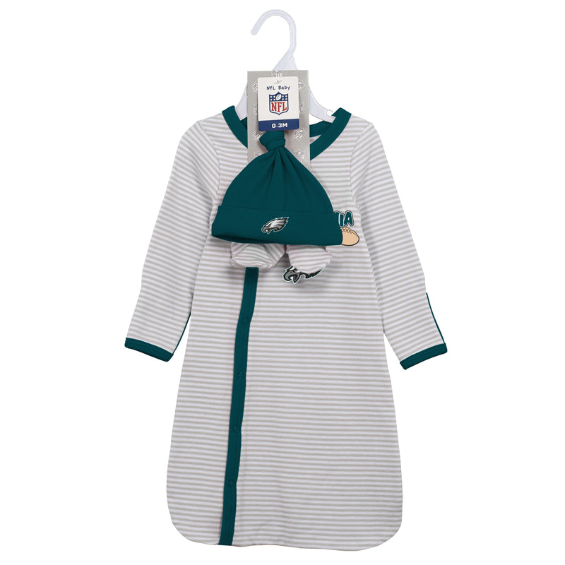 Eagles Newborn Gown, Cap, and Booties