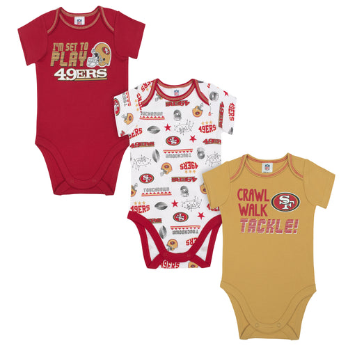 49ers All Set To Play 3 Pack Short Sleeved Onesies Bodysuits