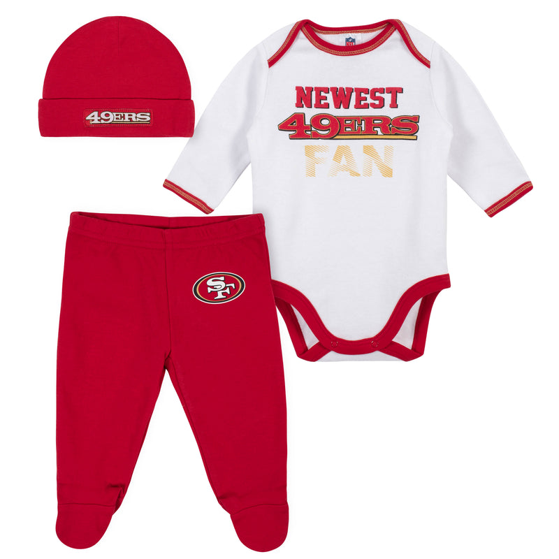 Newest 49ers Fan Baby Boy Bodysuit, Footed Pant & Cap Set