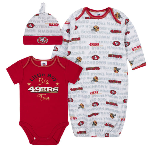 49ers Baby Boy Bodysuit, Gown & Cap Set