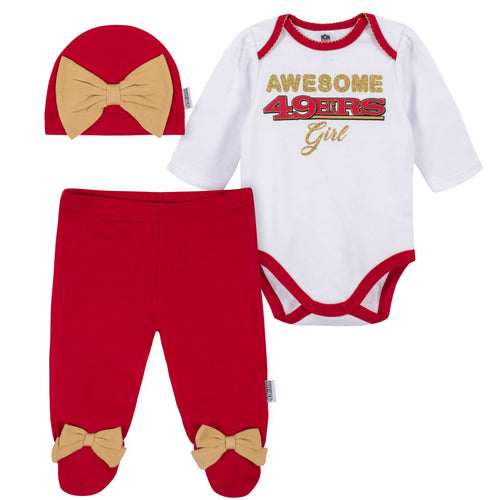Awesome 49ers Baby Girl Bodysuit, Footed Pant & Cap Set