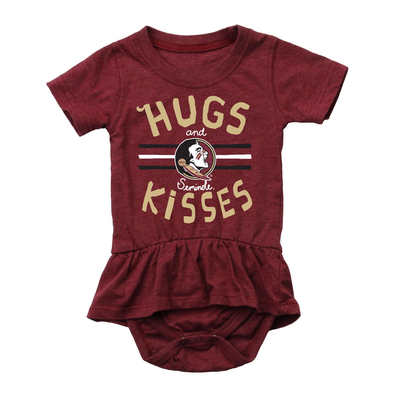 Hugs and Seminoles Kisses Baby Girl Ruffle Creeper