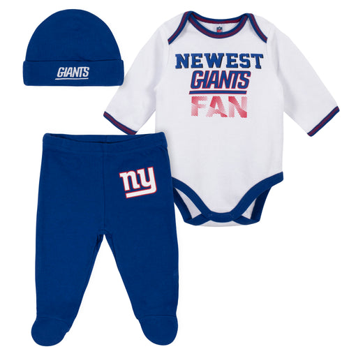 Newest Giants Fan Baby Boy Bodysuit, Footed Pant & Cap Set