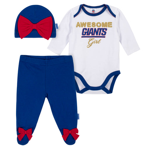 Awesome Giants Baby Girl Bodysuit, Footed Pant & Cap Set