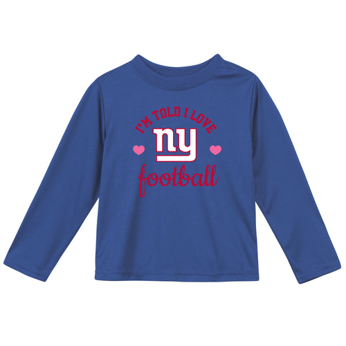 New York Giants Girls Long Sleeve Tee