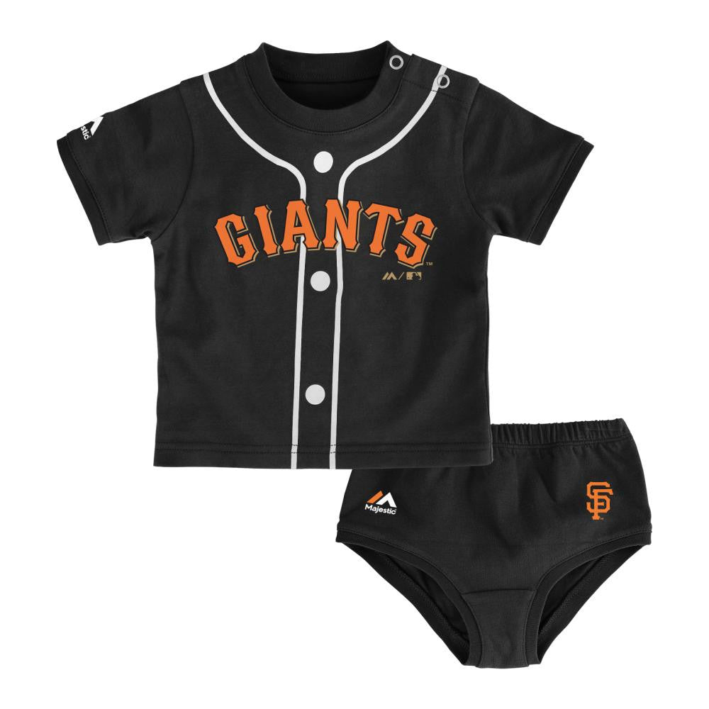 Bib and Bootie Set Majestic San Francisco Giants Tiny Player Creeper