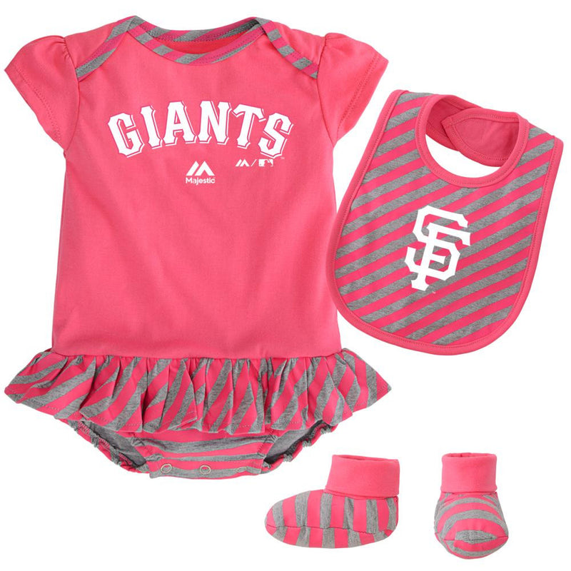 Giants Girl Pink Striped Bib, Bootie and Creeper Set