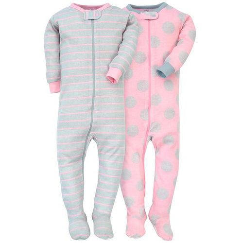 Baby Girl Pink & Grey Cozy Sleeper Set (0-3 Months)