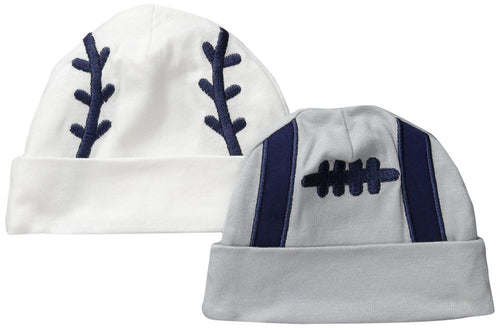 Football and Baseball Beanie Caps (0-6M)