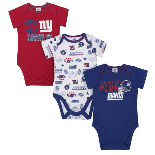 Giants All Set To Play 3 Pack Short Sleeved Onesies Bodysuits