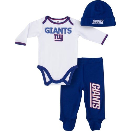 NY Giants Baby Boy Onesie, Footed Pant & Cap Set