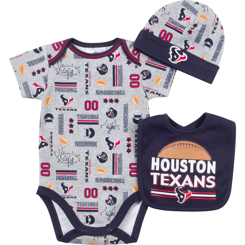 Baby Texans Fan Onesie, Cap and Bib