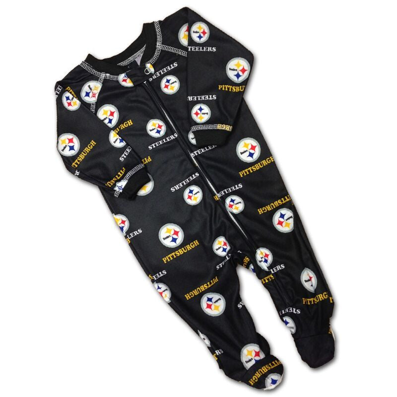 Baby Steelers Logo Covered PJ's