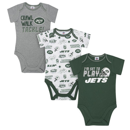 Jets All Set to Play Pack Short Sleeved Onesies Bodysuits