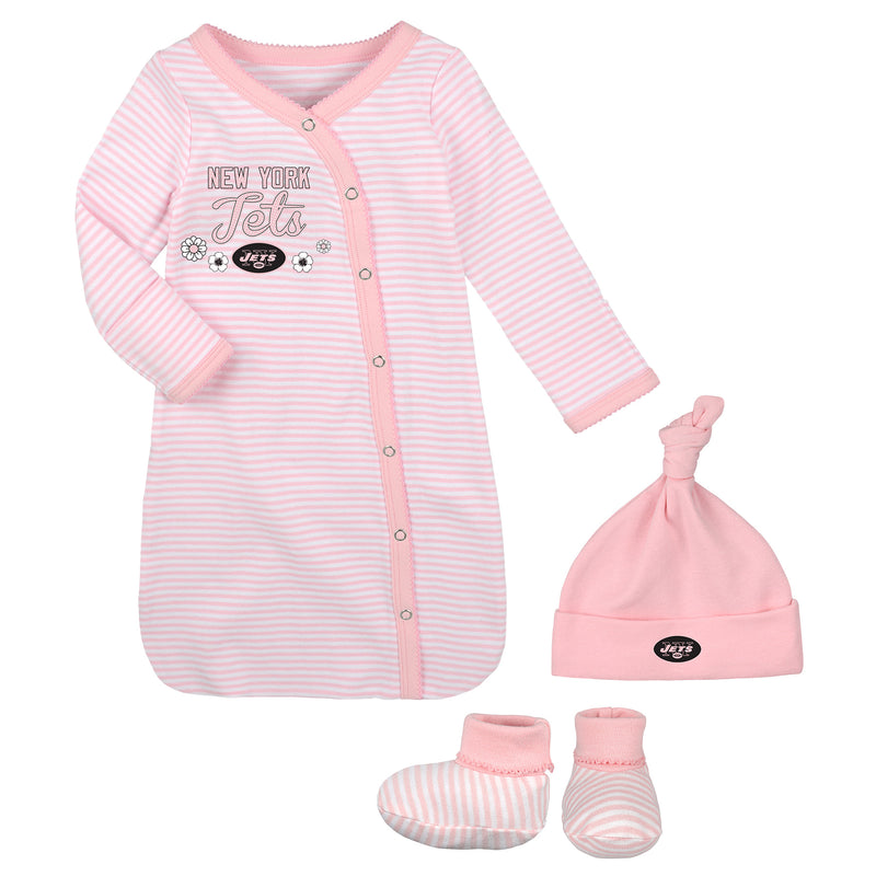 Jets Pink Newborn Gown, Cap, and Booties