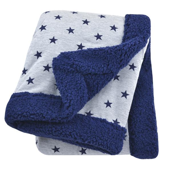 Just Born All-Star Plush Blanket in Navy and Heather Grey