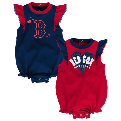 Red Sox Baseball Girl Ruffled Bodysuits