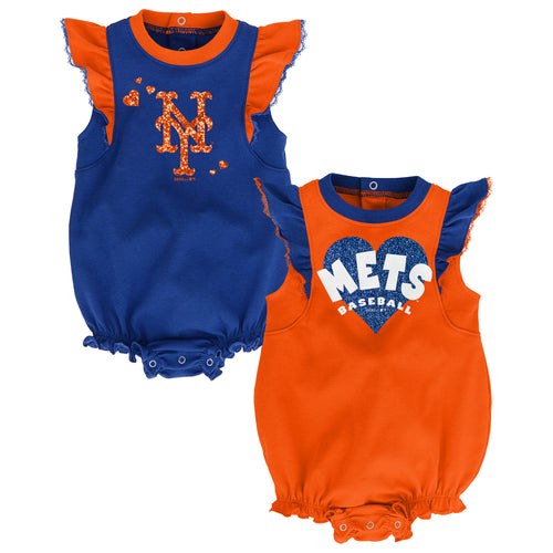 Mets Baseball Girl Ruffled Bodysuits