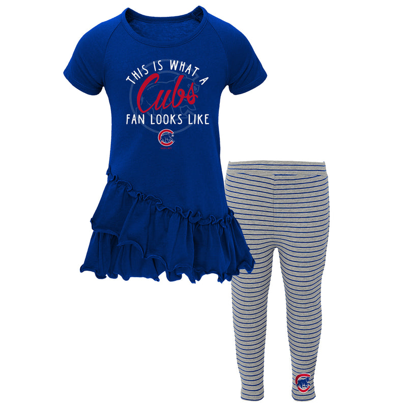 Chicago Cubs Girl Ruffled Tee Dress