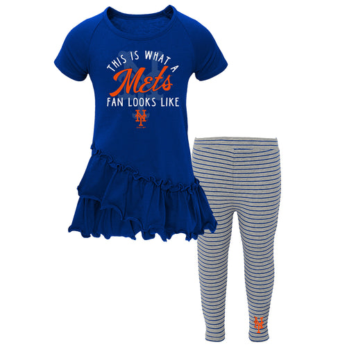 New York Mets Girl Ruffled Tee Dress