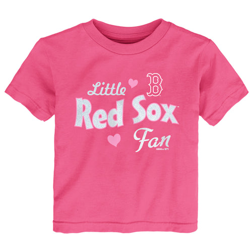 Pink Little Red Sox Baseball Fan Tee