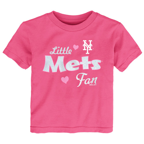 Pink Little Mets Toddler Girls Baseball Fan Tee