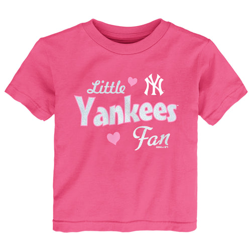Pink Little Yankees Baseball Fan Tee