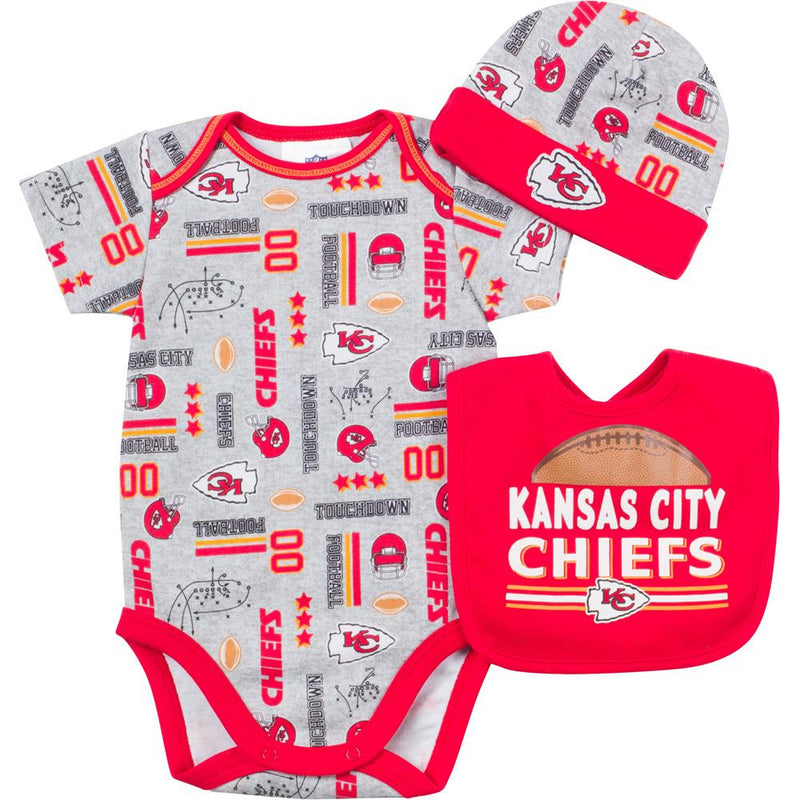 Baby Chiefs Fan Onesie, Cap and Bib