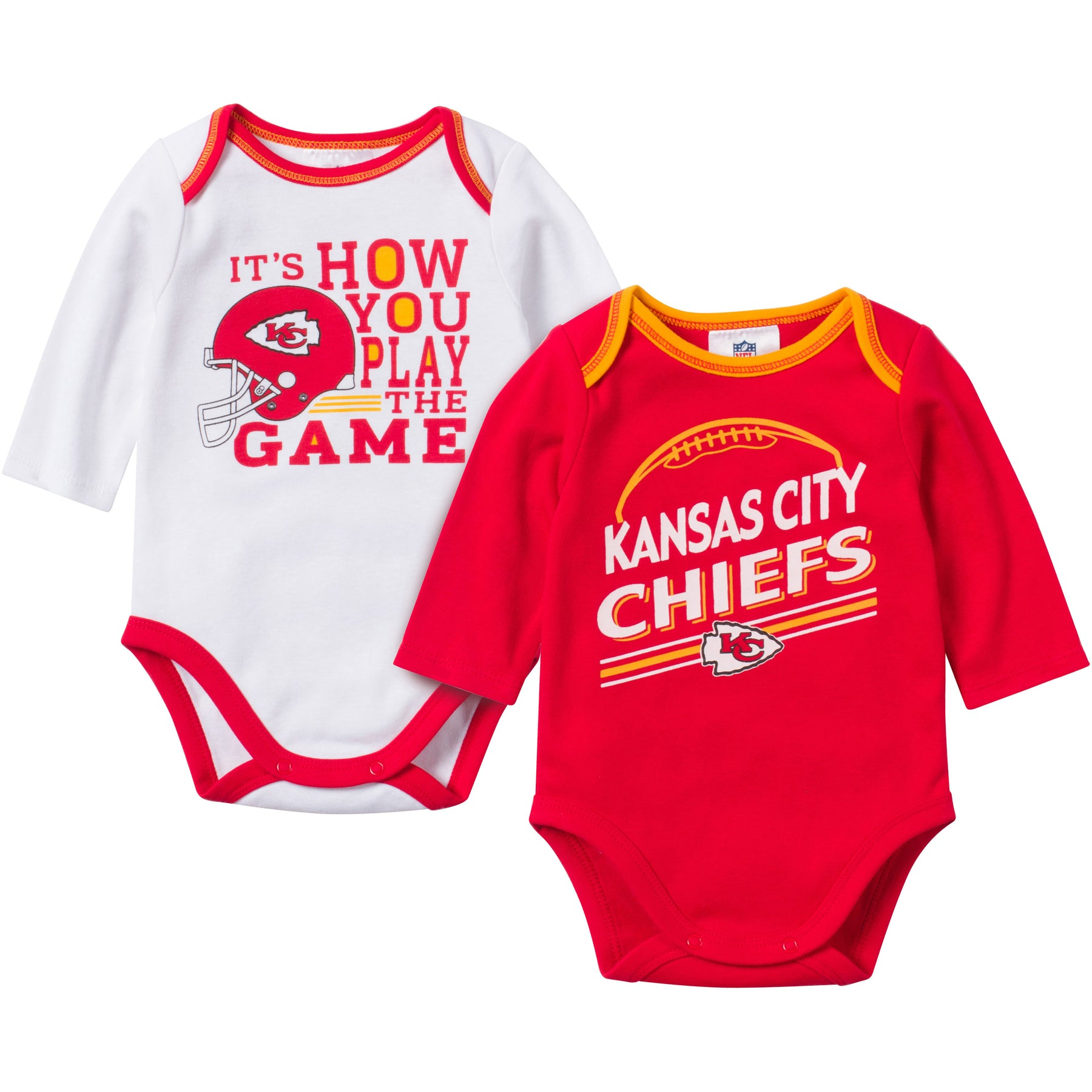 Baby Chiefs Fan Long Sleeve esie 2 Pack – babyfans