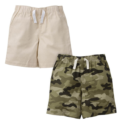 Khaki and Camo Woven Twill Shorts - 2 Pack