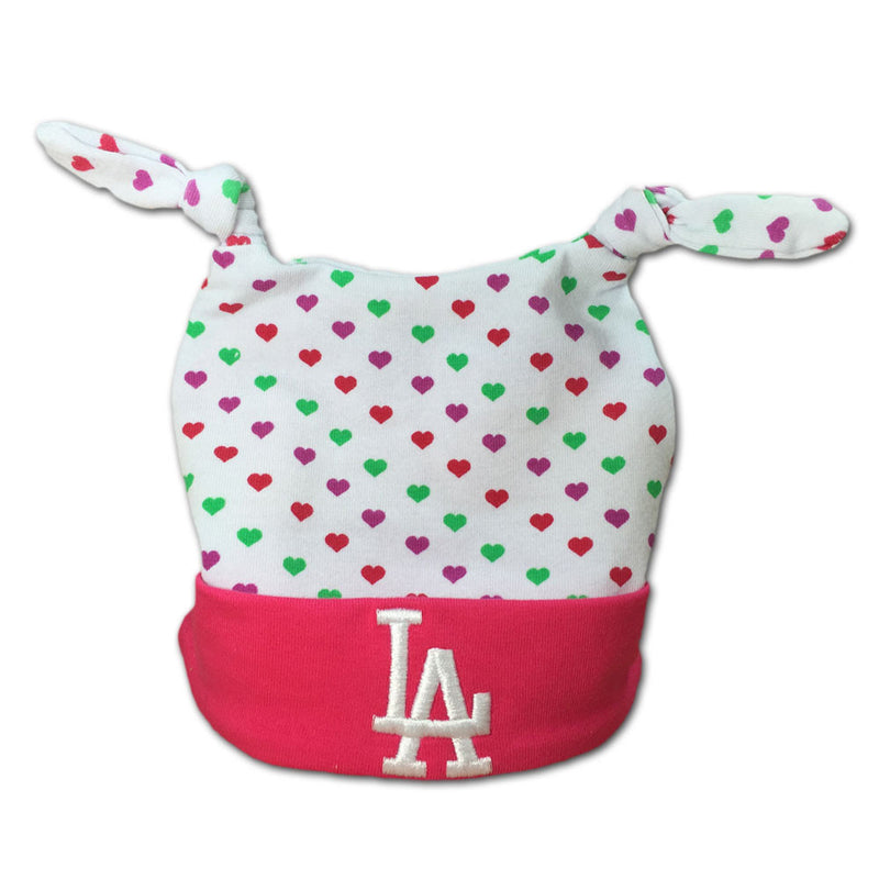 Pink I Love the Dodgers Baby Beanie