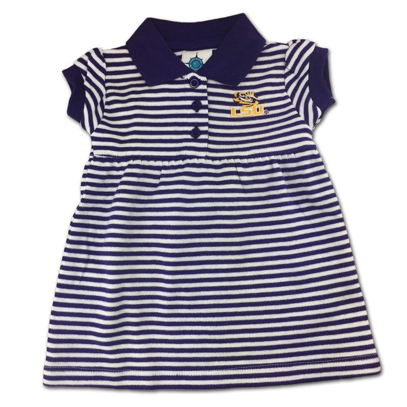 LSU Striped Polo Dress with Bloomers (0-3M Only)