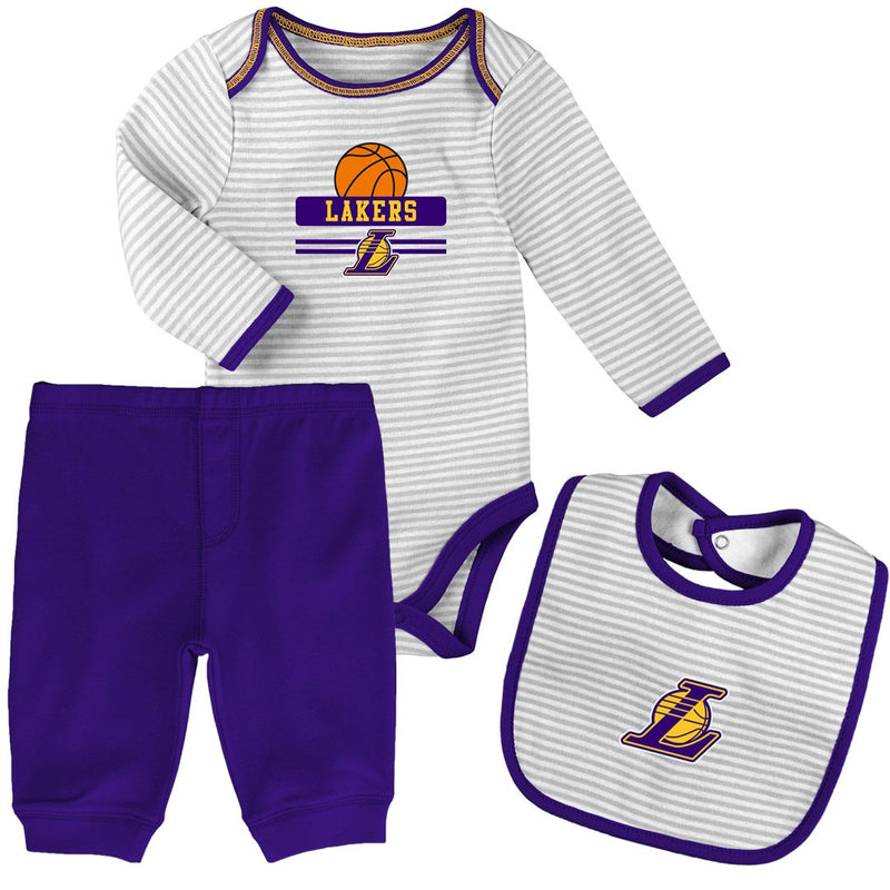 Baby Lakers Creeper, Bib and Pant Set