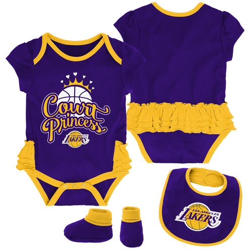 Lakers Court Princess Creeper, Bib and Booties Set