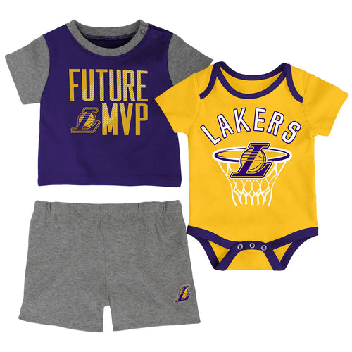 Lakers 3 PC Bodysuit, Shirt and Shorts Set