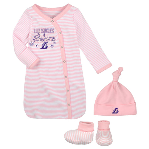 Lakers Pink Newborn Gown, Cap, and Booties
