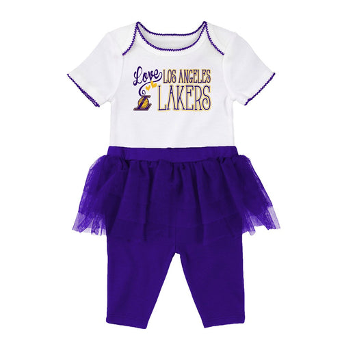 Lakers Baby Girl Creeper and Tutu Leggings