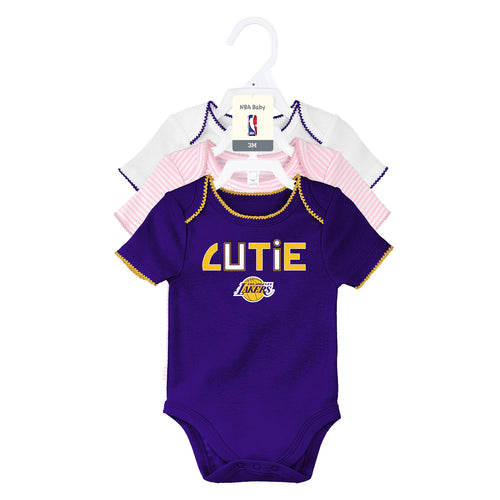 Lakers Baby Girl 3 Pack Short Sleeve Bodysuits