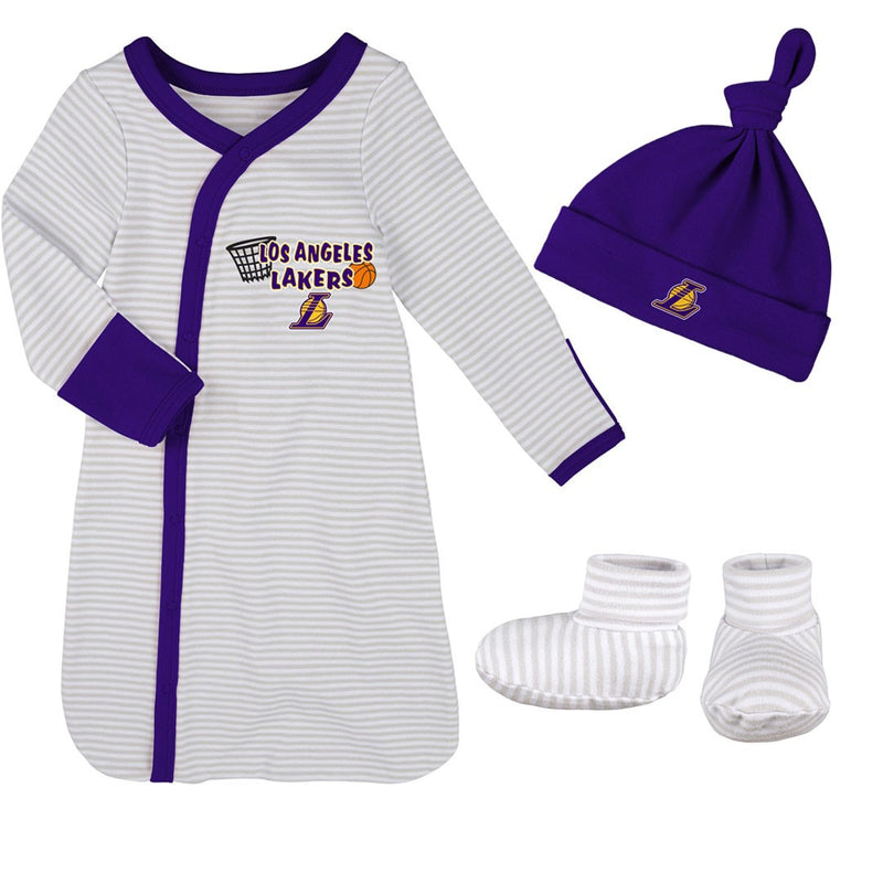 Lakers Newborn Gown, Cap, and Booties