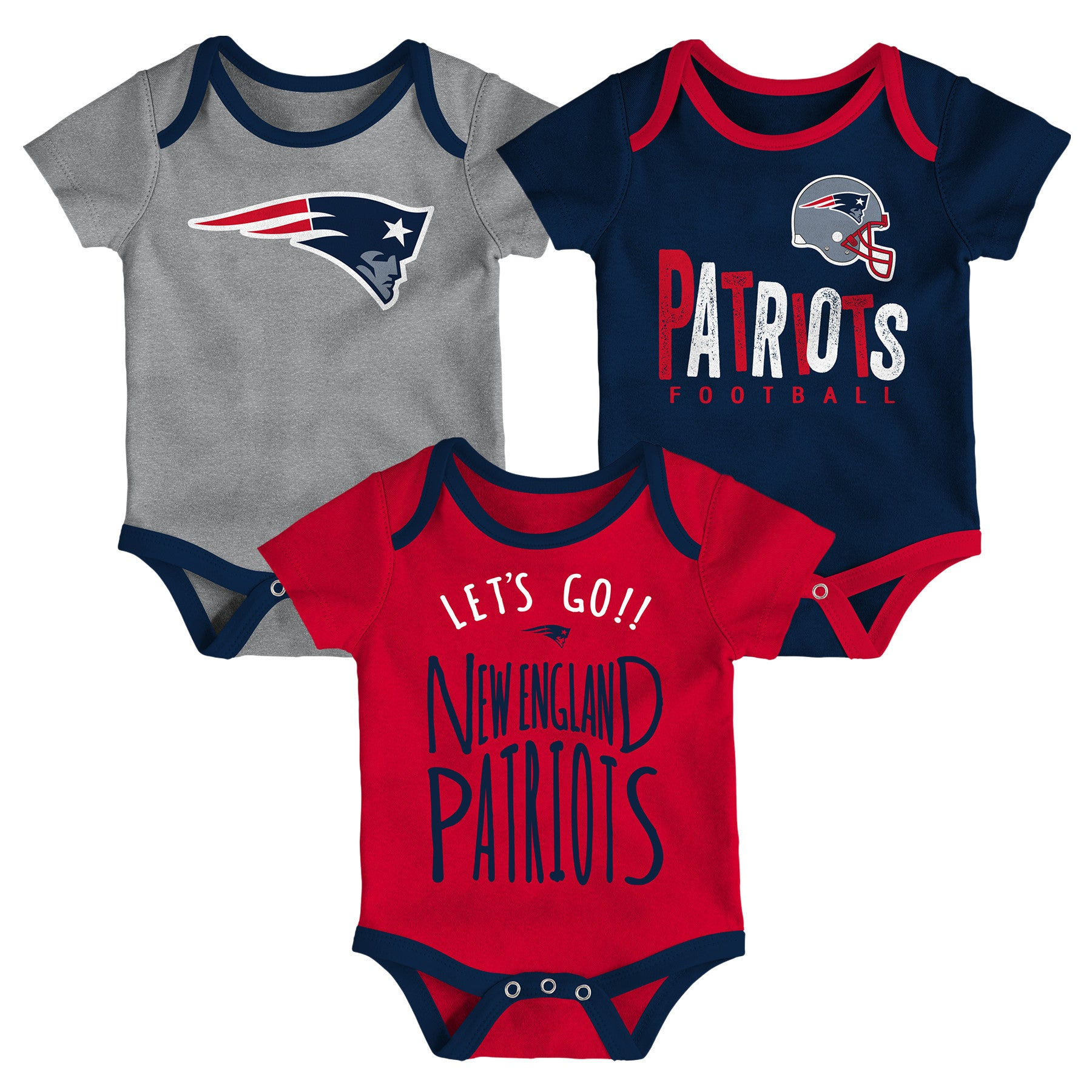 Patriots Let s Go 3-Pack Bodysuit Set – babyfans cba687426
