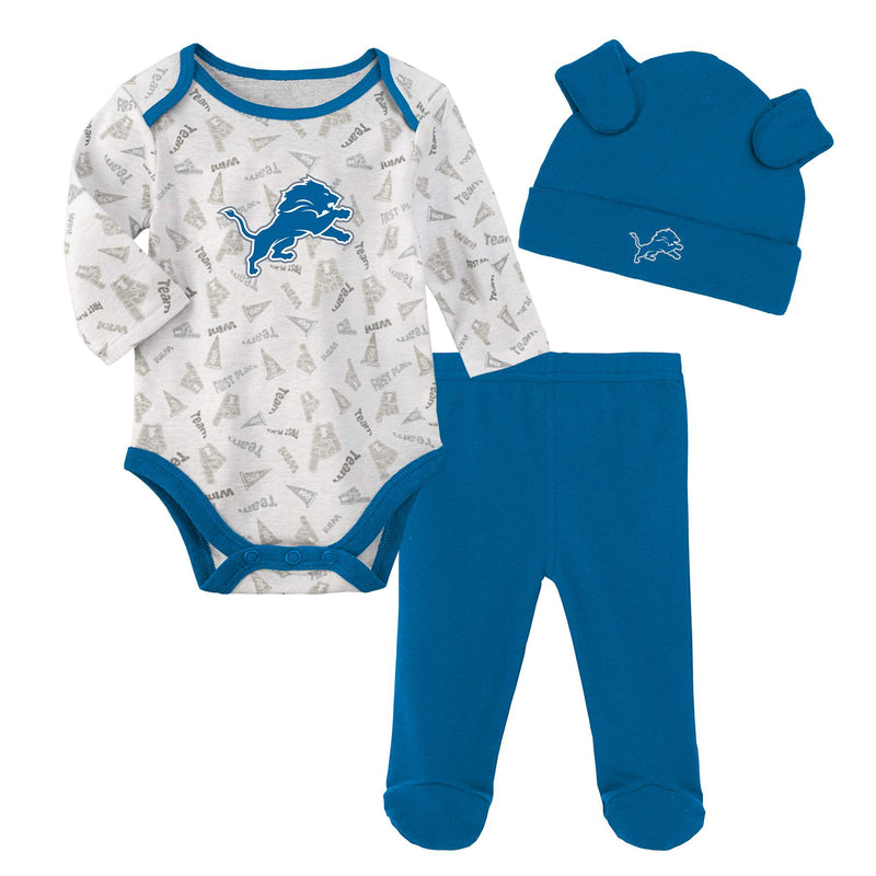 Lions Baby Bodysuit, Pants and Cap Set