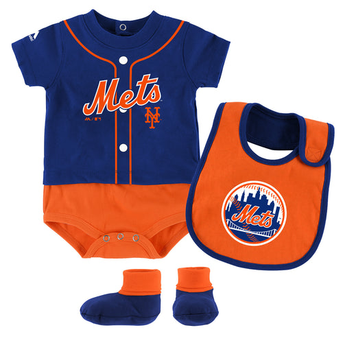 Mets Baby Ball Player Creeper Bib and Bootie Set