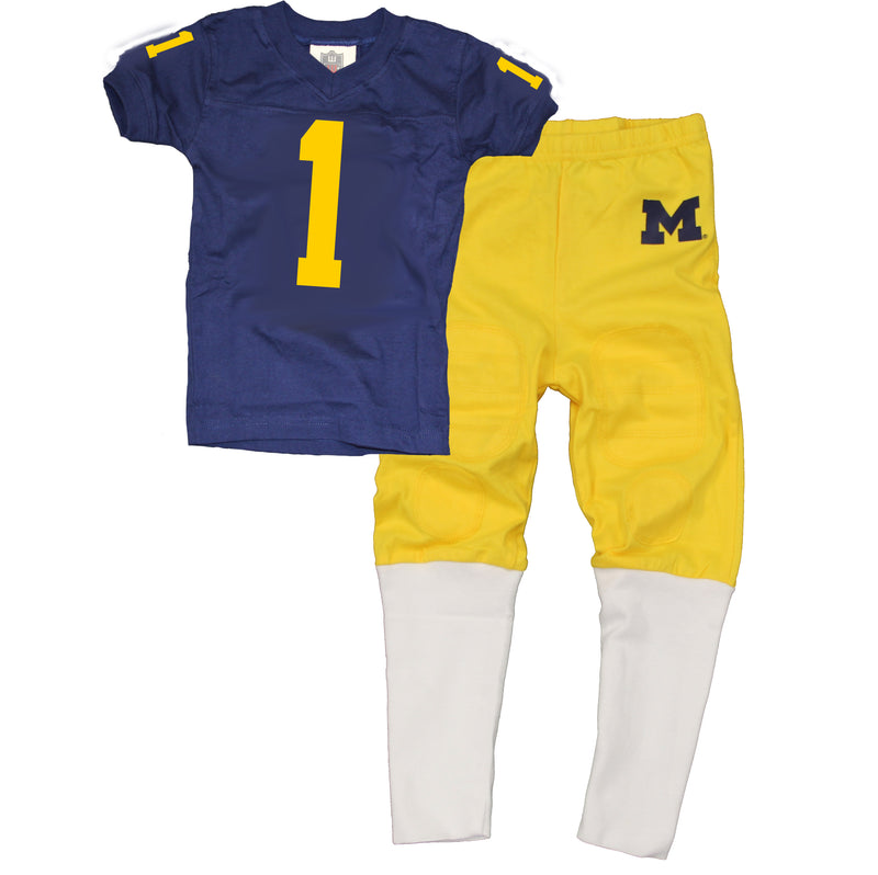Michigan Toddler Football PJ Set