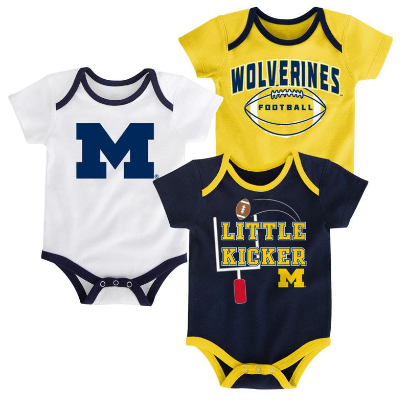 Michigan Little Kicker Onesie 3-Pack