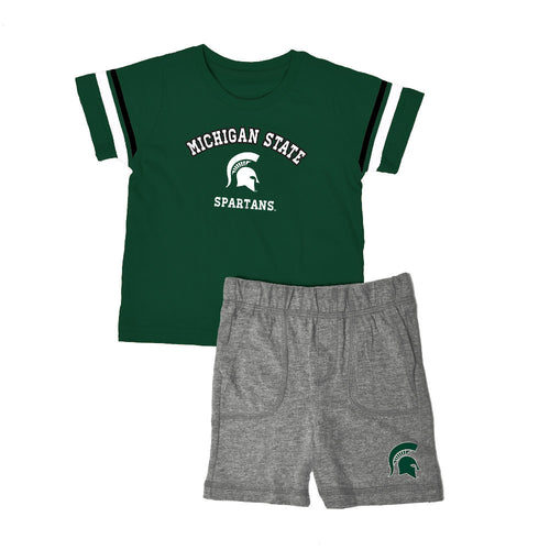 Michigan State Knit Tee Shirt and Shorts