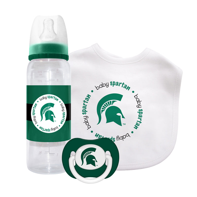 Michigan State Pacifier, Bib and Bottle Set